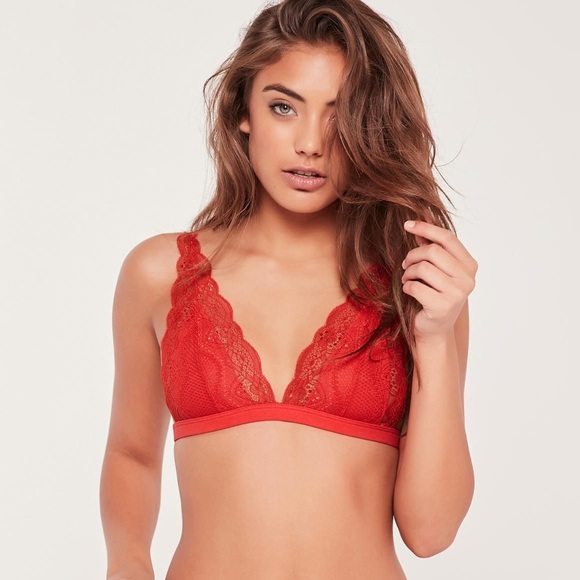bc3e1bdfef Missguided Lingerie Red Lace Triangle Bra